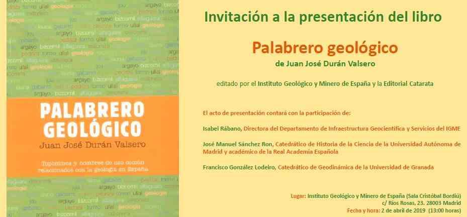 """Imagen del evento Presentación del libro """"PALABRERO GEOLÓGICO"""""""